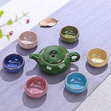 CUPWENH Eis Knacken Tee- Sets Home Keramik Eis Verglasten Kleinen Körnerbruch Becher Kung Fu Kaffee 7 Stück Im Geschenkkarton Von Tee Tasse Einstellen Tea Service, Coffee Se