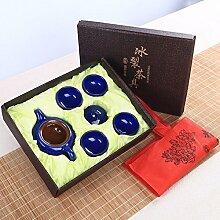 CUPWENH Eis Knacken Truppen Kung Fu Kaffee Kit Keramik Initiiert Rakuyaki Becher Home Office Auto Set Tee Geschenk Box?Teeservice