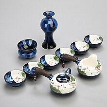 CUPWENH Handbemalte Keramik Brennofen Ist Kaffee Geschenksets Lotus Home Kung Fu Kaffee Becher Teekannen Seitliche Abdeckung Der Getränkehalter Tea Service, Coffee Se