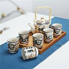 CUPWENH Herr Leung Erwähnt Kanne Tee- Sets Set Geschenk Porzellan Teekannen Becher Retro Original Home Tea Service, Coffee Se