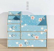 CUPWENH Holz Kommode, Schreibtisch Schublade, Kosmetik, Schmuck, Großes Regal, Blaue Blume