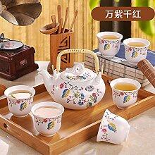CUPWENH Kaffee Kit Keramik Haushalt Mit Der Tee-Trinken Becher Teekanne Tee Ehe Kung Fu Set Disk Tea Service, Coffee Se