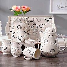 CUPWENH Keramik - Krug Abgepacktem Tee Tasse Kaltes Wasser Topf Wasser Trinken Kaffee Mit Einem Tablett Von Haushalts - Anzüge,C,Tea Service, Coffee Se
