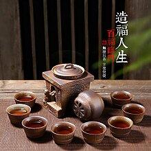 CUPWENH Keramik Kung Fu Tee- Sets Faule Menschen Der Gesamten Grobe Keramik Becher Ruhenden Home Getränkehalter Tea Service, Coffee Se