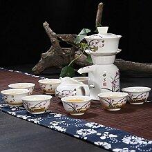 CUPWENH Keramik Stein Kung Fu Tee- Sets Haushalt Porzellan Teekannen Becher Faule Menschen Tee. Tea Service, Coffee Se