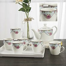 CUPWENH Keramik Tassen Kaltes Wasser Kaltes Wasser Wasserkocher Gegossen Becher Kit Hitzebeständige Haushalt Wasser Mit Bone China Tee- Sets Ehe Tea Service, Coffee Se