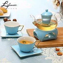 CUPWENH Keramik Tee, Kaffee, Gläserne Teekanne (1 Oder 4 Becher), Europäischen Stil Tasse Kaffee,Ich,Tea Service, Coffee Se
