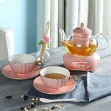 CUPWENH Keramik Tee, Kaffee, Gläserne Teekanne (1 Oder 4 Becher), Europäischen Stil Tasse Kaffee,E,Tea Service, Coffee Se
