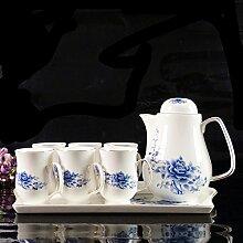 CUPWENH Keramik Tee Kalt Wasserkessel Set Tasse Mit Privaten Wohnzimmer Kaffee Topf Kaffee Tablett,D,Tea Service, Coffee Se