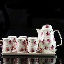 CUPWENH Keramik Tee Kalt Wasserkessel Set Tasse Mit Privaten Wohnzimmer Kaffee Topf Kaffee Tablett,C,Tea Service, Coffee Se