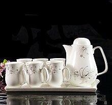 CUPWENH Keramik Tee Kalt Wasserkessel Set Tasse