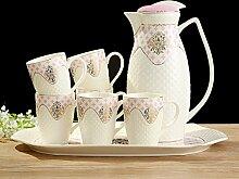 CUPWENH Keramische Teeservice, Zu Hause Mit Tablett, Europäischen Stil Kalte Wasser - Cup, Teetasse, Kaltes Wasser -, Keramik - Kaffee,S,Tea Service, Coffee Se