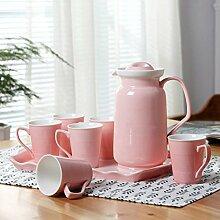 CUPWENH Kreative Keramische Tassen Kaffee Tasse Europacup Zu Hause Wasserkrug Tasse Tee - Service,D,Tea Service, Coffee Se