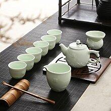 CUPWENH Kung Fu Hustle Becher Kit Glitzernden Keramik Antiken Chinesischen Startseite 10 Tassen Tee Porzellan Kit Tea Service, Coffee Se