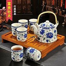 CUPWENH Kung Fu Hustle Tee- Sets Set Tee Keramik Teekannen Bezeichnet Herr Leung Fu Becher Sub-Kit Home Kaffee Tea Service, Coffee Se