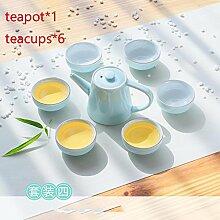 CUPWENH Kurze Farbe Porzellan Tee Set Büro