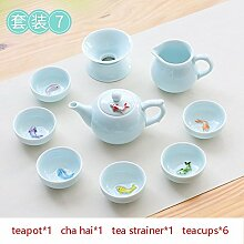 CUPWENH Kurze Farbe Porzellan Tee Set Für