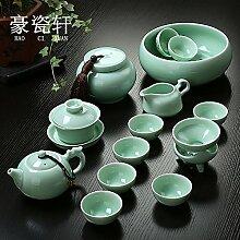 CUPWENH Longquan Zhenchang Celadon Home Kit Tee Ist Das Amt Der Keramik Teekanne Deckel Schüssel Becher Set Von Kung Fu Kaffee Tea Service, Coffee Se
