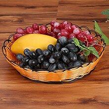 CUPWENH Obst Ablagekorb Weide Rattan Korb Mit Gemüse Obst Und Gemüse Warenkorb Home Einrichtung Ablassen Warenkorb, Warenkorb