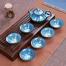 CUPWENH Porzellan Kung Fu Teeservice Tenmoku