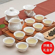 CUPWENH Porzellan Weiß Verpackt Trinken Becher Sub-Kung Fu Home 6 Stück Keramik Teekanne Igitt - Porzellan Schüssel Deckel Tea Service, Coffee Se
