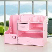 CUPWENH Schreibtisch, Schreibtisch, Diverse Kleinartikel Aufbewahrungsbox, Bürobedarf, Sortierbox, Schreibtisch, Regal, Light Pink