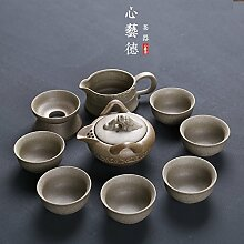 CUPWENH Sepia Grobe Keramik Tee Retro Home Keramik Kung Fu Full Packaged Wasserkocher Becher Deckel Schüssel Reis Schale Tea Service, Coffee Se