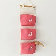 CUPWENH Speicher-Box/Lagerung Tasche Baumwolle Und Leinen Hängen Tasche Wall Lagerung Organisieren Wandhalterung An Der Wand Montiert, C (58 * 20 Cm)