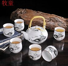 CUPWENH Töpfer Kit Bezeichnet Herr Leung Krug Becher Home Sieben Köpfe Und Porzellan Tee Set Geschenkbox Tea Service, Coffee Se