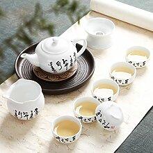 CUPWENH Töpfer Kit Kung Fu Kaffee Schüssel Deckel Becher Porzellan Teekannen Paket Leitet Rakuyaki Kaffee Meer Home Tea Service, Coffee Se