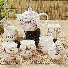 CUPWENH Yuhang 7 Pcs Tee Set Blau-Weiß Porzellan