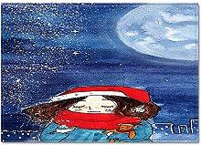 CURTAINSCSR Teppich Cartoon Mädchen 60x90 cm