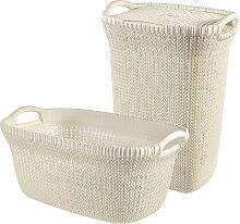 Curver Wäschekorb Knit (Set, 2 Stück) 39x60x27