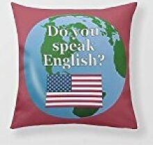 Cushion Cover 18 Multilingual Usa Square Cushion Cover