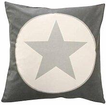 Cushion cover, Charcoal big star 50 x 50 [A]