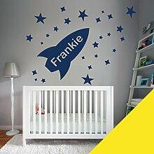 Custom–Wandtattoo für Kinder Schlafzimmer–Rocket, Sterne, Name–nur Nachricht uns mit der Name. - X-Large (1100x550mm) beige