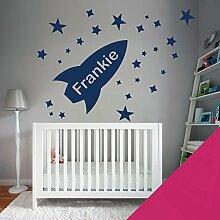 Custom–Wandtattoo für Kinder Schlafzimmer–Rocket, Sterne, Name–nur Nachricht uns mit der Name. - Medium (580x290mm) magenta