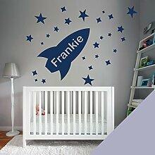 Custom–Wandtattoo für Kinder Schlafzimmer–Rocket, Sterne, Name–nur Nachricht uns mit der Name. - Medium (580x290mm) Hellgrau