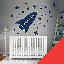 Custom–Wandtattoo für Kinder Schlafzimmer–Rocket, Sterne, Name–nur Nachricht uns mit der Name. - Medium (580x290mm) Mohnblume