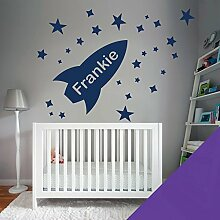 Custom–Wandtattoo für Kinder Schlafzimmer–Rocket, Sterne, Name–nur Nachricht uns mit der Name. - Medium (580x290mm) dunkelviole