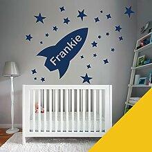 Custom–Wandtattoo für Kinder Schlafzimmer–Rocket, Sterne, Name–nur Nachricht uns mit der Name. - Medium (580x290mm) gelb