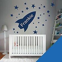 Custom–Wandtattoo für Kinder Schlafzimmer–Rocket, Sterne, Name–nur Nachricht uns mit der Name. - Medium (580x290mm) Dunkelblau
