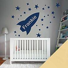 Custom–Wandtattoo für Kinder Schlafzimmer–Rocket, Sterne, Name–nur Nachricht uns mit der Name. - Medium (580x290mm) cremefarben