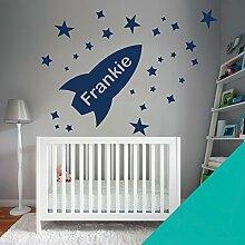 Custom–Wandtattoo für Kinder Schlafzimmer–Rocket, Sterne, Name–nur Nachricht uns mit der Name. - X-Large (1100x550mm) türkis
