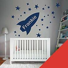 Custom–Wandtattoo für Kinder Schlafzimmer–Rocket, Sterne, Name–nur Nachricht uns mit der Name. - Medium (580x290mm) ro