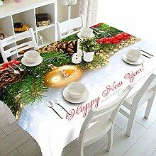 Custom 3D-Tischdecken exquisites Weihnachtsgeschenk Muster wasserdicht Tuch verdickte Polyester verdicken Kaffee Tisch rechteckig Hochzeit Tischdecken Abdeckung Heimtextilien, B, 135 cm x 180 cm