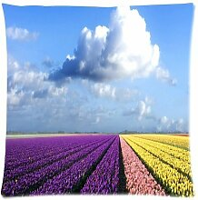 "Custom Fashion Comfortable Style Zippered Pillowcase, HD Clear color Beautiful Sky Natural Tulip Flower PillowCase Pillow Cases Covers Standard Size 20""x20""(two sides) Cushion Cover Sofa Bed PillowCases Cover"