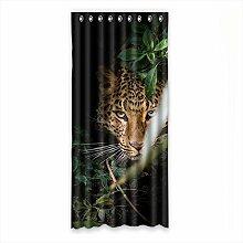 """Custom Polyester-Leopard lichtgeschützten-Fenster Vorhang für Schlafzimmer oder Wohnzimmer einem Stück, 127x 274,3cm Zoll über 127cm x 275cm, Polyurethan, a, 50""""""""x108"""