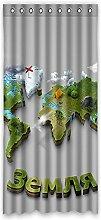 """Custom Polyester-Weltkarte lichtgeschützten-Fenster Vorhang für Schlafzimmer oder Wohnzimmer einem Stück, 127x 274,3cm Zoll über 127cm x 275cm, Polyurethan, D, 50""""""""x108"""