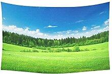 Custom Wandbehang Tapisserie Home Dekoration Field Gras Grün Wald Bäume Himmel Wolken 101,6x 152,4cm